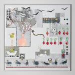 papier, szkło, metalowa rama anodowana kolor srebrny: Magdalena Kucharska-Luzowanie szklanej kaczki, podtytuł: Pani K. czka-70x70cm-Moje życie jest rodzaju żeńskiego-2016