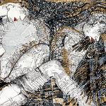 Magdalena Kucharska-M. w towarzystwie aniołów, twórczej weny i kochającego... acz wymagającego męża / Nr 4 -100x70cm-rysunki dyplomowe/ pracownia malarstwa i rysunku prof. Stanisława Kortyki-1991
