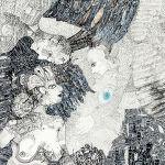 karton kredowany: Magdalena Kucharska-M. w towarzystwie aniołów, twórczej weny i kochającego acz...wymagającego męża nr 5-100x70cm-rysunki dyplomowe/ pracownia malarstwa i rysunku prof. Stanisława Kortyki-1991