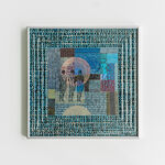 papier, szkło, metalowa rama anodowana kolor srebrny: Magdalena Kucharska-Madrygał, opus 5-rysunki w złotej reliefowej ramie
