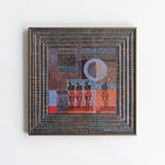 papier, szkło, metalowa rama anodowana kolor brąz: Magdalena Kucharska-Madrygał, opus 6-rysunki w złotej reliefowej ramie