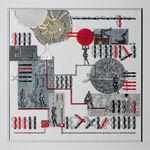 papier, szkło, metalowa rama anodowana kolor srebrny: Magdalena Kucharska-Porządkowanie przestrzeni No 14-70x70cm-Moje życie jest rodzaju żeńskiego-2016