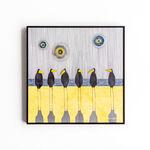 papier, szkło, metalowa rama anodowana kolor czarny: Magdalena Kucharska-Ptaki na plaży-40x40cm-Ptaki-2020